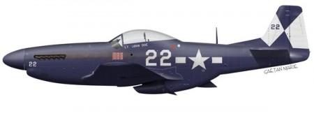 Voici à quoi aurait pu ressembler le Mustang en service opérationnel dans l'US Navy. Cette livrée est basée sur celle d'un Hellcat de la VF-4 au début de 1945. (C) Gaëtan Marie