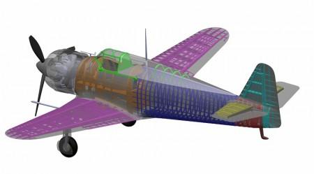 Les tronçons du MB-152, représentés en couleur sur la maquette numérique. © Dassault Aviation