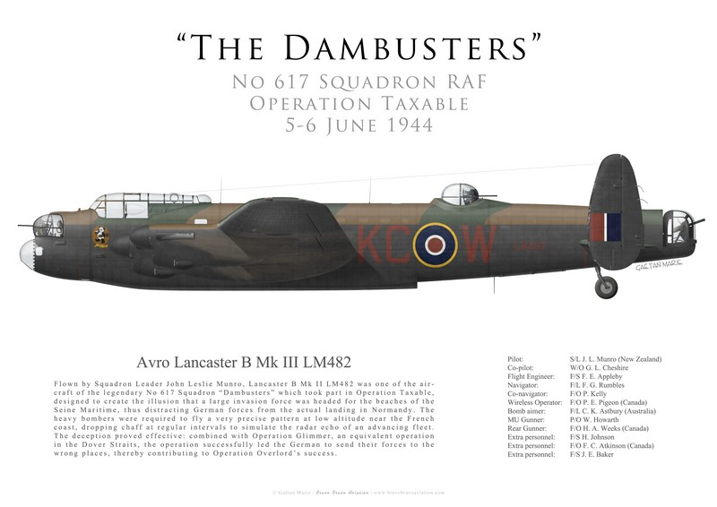 GM-424 - UK, Lancaster B III, LM482, S-L Munro, No 617 Squadron, Operation Taxable, 5 June 1944 1