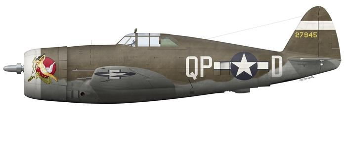 """Le P-47D-1-RE (s/n 42-7945) """"Miss Plainfield"""" du Capt. Steve Pisanos, 334th FS, 4th FG. (© Gaëtan Marie)"""