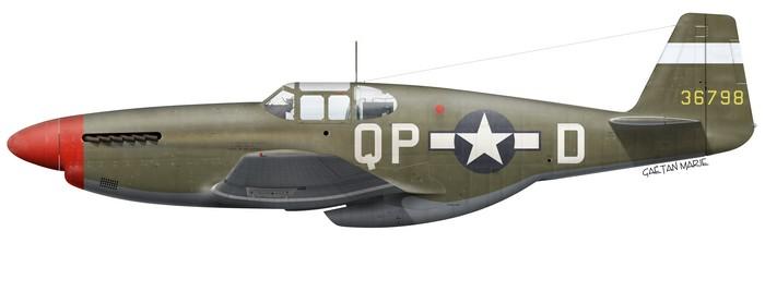Le P-51B-7-NA Mustang (s/n 43-6798) avec lequel Pisanos se posa en catastrophe en France le 5 mai 1944. (© Gaëtan Marie)