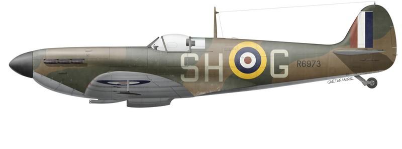 Spitfire Mk I, No 64 Squadron, piloté par le S/C Maurice Choron, automne 1940. (Profil © Gaëtan Marie)