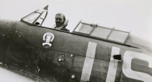 Maurice Mounsdon in his Hurricane (Photo Crown Copyright)