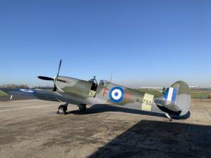 Spitfire Mk IXc MJ755 quelques minutes avant son nouveau 1er vol (Photo Hellenic Air Force )